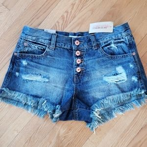American rag high rise distressed jean shortie